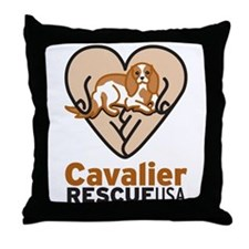Cavalier Rescue USA Logo Throw Pillow