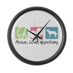 Peace, Love, Anatolians Large Wall Clock