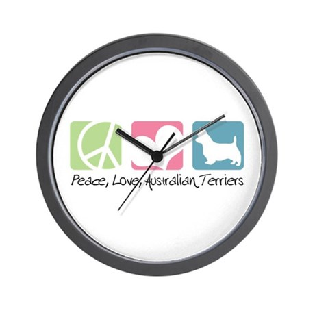 Peace, Love, Australian Terriers Wall Clock