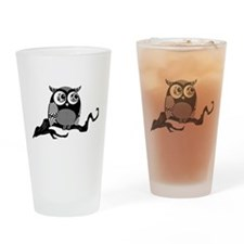 Cute Graphic Owl Drinking Glass