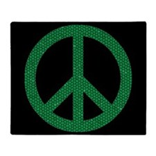 Green Peace Sign Throw Blanket