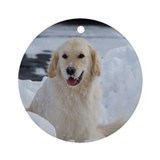 Golden Retriever Snow Ornament (Round)