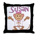 Little Monkey Susan Throw Pillow