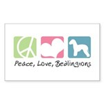 Peace, Love, Bedlingtons Sticker (Rectangle 50 pk)