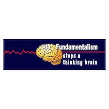 Fundamentalism stops a thinking brain Stickers