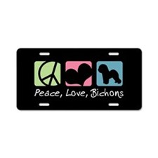Peace, Love, Bichons Aluminum License Plate
