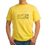 Peace, Love, Border Collies Yellow T-Shirt