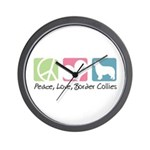 Peace, Love, Border Collies Wall Clock