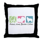 Peace, Love, Border Collies Throw Pillow