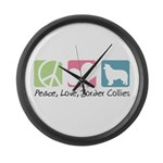 Peace, Love, Border Collies Large Wall Clock