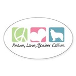 Peace, Love, Border Collies Sticker (Oval 50 pk)