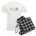Peace, Love, Border Terriers Men's Light Pajamas