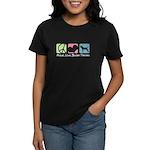 Peace, Love, Border Terriers Women's Dark T-Shirt