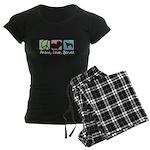Peace, Love, Borzoi Women's Dark Pajamas