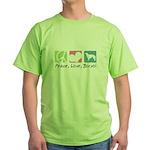 Peace, Love, Borzoi Green T-Shirt