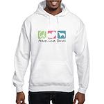 Peace, Love, Borzoi Hooded Sweatshirt