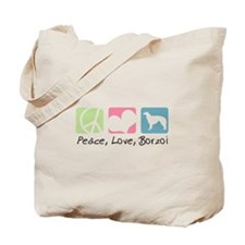 Peace, Love, Borzoi Tote Bag