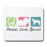 Peace, Love, Borzoi Mousepad