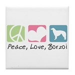 Peace, Love, Borzoi Tile Coaster