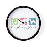 Peace, Love, Borzoi Wall Clock