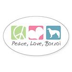 Peace, Love, Borzoi Sticker (Oval 10 pk)