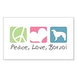 Peace, Love, Borzoi Sticker (Rectangle 10 pk)