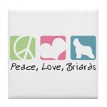 Peace, Love, Briards Tile Coaster