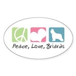 Peace, Love, Briards Sticker (Oval 10 pk)