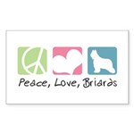 Peace, Love, Briards Sticker (Rectangle 10 pk)