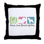Peace, Love, Brussels Griffon Throw Pillow