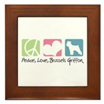 Peace, Love, Brussels Griffon Framed Tile