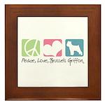 Peace, Love, Brussels Griffon Framed Tile