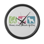 Peace, Love, Brussels Griffon Large Wall Clock