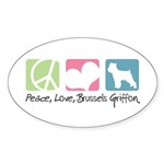 Peace, Love, Brussels Griffon Sticker (Oval 10 pk)