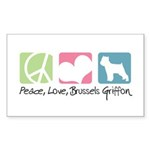 Peace, Love, Brussels Griffon Sticker (Rectangle 1