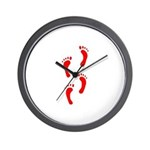 FOOTPRINTS™ IN RED™ PAINT™ Wall Clock
