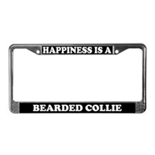 Happiness Is A Bearded Collie License Plate Frame