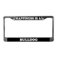 Happiness Is A Bulldog License Plate Frame