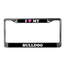I Heart My Bulldog License Plate Frame