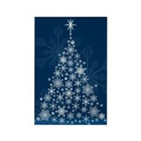 Snowflake Christmas Tree Rectangle Magnet