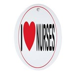 I Love Nurses Oval Ornament