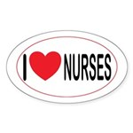 I Love Nurses Oval Sticker