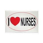 I Love Nurses Rectangle Magnet (100 pack)