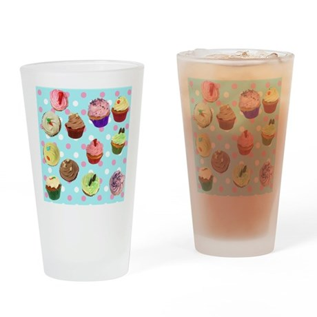 Polka Dot Cupcakes Drinking Glass