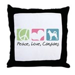 Peace, Love, Canaans Throw Pillow