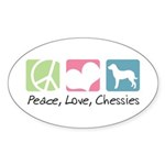 Peace, Love, Chessies Sticker (Oval 50 pk)