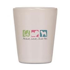 Peace, Love, Shar-Pei Shot Glass