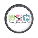 Peace, Love, Shar-Pei Wall Clock