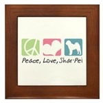 Peace, Love, Shar-Pei Framed Tile