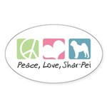 Peace, Love, Shar-Pei Sticker (Oval 50 pk)